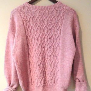 Vintage Sweaters - Pink Cable Knit Sweater   Fisherman Sweater   M L
